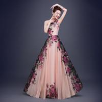 Wholesale 2016 new arrival long flora bridesmaid prom dresses for wedding guest dresses print chiffon maxi dresses long skirts