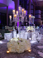 beautiful candle holders - New Beautiful arms cm inch Tall crystal candelabra candle holder wedding table centerpieces dinner table decoration