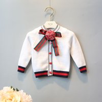 Wholesale White Color Girls Cardigan Children Clothes Kids Clothing Sweater Coat Autumn Crochet Cardigan Girl Dress with Bow