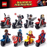 avengers motorcycle - 8PCS Marvel The Avengers Super Heroes Motorcycle Minifigures Building Blocks Set Captain America Ironman spiderman Superman Bricks Toys
