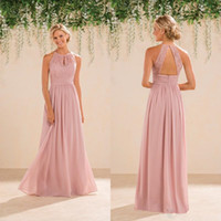 Wholesale Long Blush Chiffon Gowns - New Jasmine Bridal Blush Pink Bridesmaid Dresses Country Style Halter Neck Lace Chiffon Full Length Formal Prom Party Gowns Custom Made