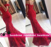 african picture art - 2017 New Red Lace Mermaid Prom Dresses veatidos off Shoulder Beaded Appliques Tulle Full Length Long African Evening Gowns Formal Party Wear