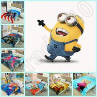 batman bedding - 60PCS HHA784 flannel blankets color superman car princess blanket kt minions minnie batman blanket bedding sheet kid blanket