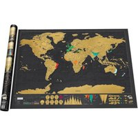 Wholesale Deluxe Scratch Off World Map Art Poster Personalized Travel Log Vacation Gift x cm LJJG393