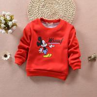 Wholesale Kids Mickey Mouse Velvet Sweatshirts Autumn Winter Boys Tops Cartoon Pattern Girls Hoodies Outerwear Baby Costume Children Clothing