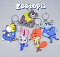 Wholesale Zootopia Keychain Two Sides Judy Hopps Nick Wilde PVC Key Chain Pendant Accessories Zootopia Styles Key Ring Cartoon key chain
