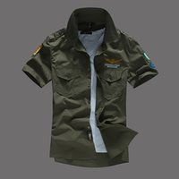 aviator shirt - Summer Mens Short Sleeve Cotton Aviator Shirt Men Shirts Solid Chemise Homme Mens Dress Shirts Turn Down Collar Casual Shirt Men