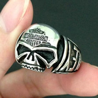 anniversary skulls - 316L stainless steel jewelry Mens silver Skull Biker ring fashion biker ring