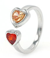 authentic gemstones - Double Colors Authentic Sterling Silver Ring Love Heart Engagement Ring Imitation Gemstone Ring for Woman Wedding Jewelry DL14720A