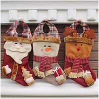 Wholesale 30PCS Lovely Christmas Stockings Santa Clause Snowman Reindeer Xmas Character D Plush Linen Hanging Tag Knit Border