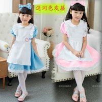 alice in wonderland costume kids - Hot Sale Kids Alice in Wonderland Costume Lolita Dresses Children Maid Cosplay dress Fantasia Costumes for Girl Free Headwear