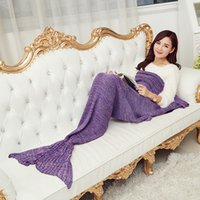 Wholesale New Mermaid Tail Blanket Super Soft Yarn Knitted Throw Blanket Bed Wrap Sleeping Bed Handmade Crochet Anti Pilling Portable Blanket Colors