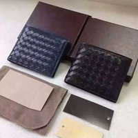 Wholesale 2016 New Fashion Men s Wallets Casual genuine Leather Famous Brand Short Wallet Men Purses Money Card ID Holders Knitting Male Bi Fold Purse