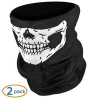 Wholesale Halloween Christmas gift kull Skeleton Outdoor Airsoft Hunting Riding Motorcycle Ski Windproof Half Face Mask Guard Seamless Bandana Tube