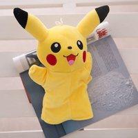 Wholesale Poke mon go hand puppet Pikachu plush toy children toys doraemon big hero kitten cartoon puppet Gloves Dolls