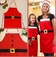 Wholesale New Year Christmas Decoration Apron dress Kitchen Aprons Christmas Dinner Party Holiday Apron Santa Claus clothes For Adult