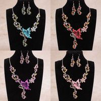 butterfly in flower - Hot Sale Colors Shining Rhinestones Butterfly Flowers Bridal Bridesmaid Necklace and Earrings Wedding Party Cheap Jewelry Set In Stock
