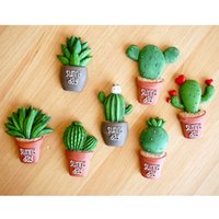 Wholesale Pack of Succulent Cactus Fridge Magnet Plant Creative Resin Refridgerator Magnets Home Decoration Sticker Kitchen