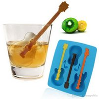 Wholesale 30pc Summer Blue DIY Ice Tray Mould New Cute Ice Cream Tools Silicone Guitar Shape Chocolate Cake Ice Cream Moulds free ship