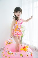 Wholesale 2016 baby girls beach spa swimming Korean small floral one piece swimsuit skrit for chirldren go to vacation gift