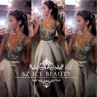 Wholesale Shiny Sequins Crystal Silver Grey Evening Dresses Long Deep V Neck Backless Major Beading Sleeveless Satin Women Party Prom Gowns
