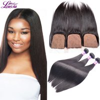 Cheap 8A Brazilian Straight Hair Bundles with Silk Base Closure Unprocessed Malaysian Peruvian Indian Human Hair Weaves Closure For Sale