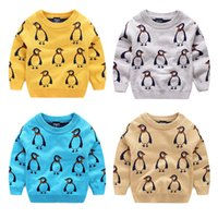 Wholesale 2016 Kids sweaters penguin Jacquard double layers Pullover tops children Autumn o neck cotton soft knitwear