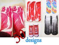 bacon meat - New Fashion D Printed Unisex Men Women Low Cut Ankle Socks Bacon Meat Burgur Cute