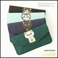 Wholesale Cute Korea Cartoon nylon waterproof long wallet cat women s mobile phone card bag coin case change purse A4