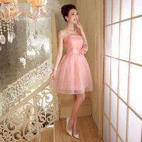 Wholesale Bridesmaid dresses banquet dress performance show dress wedding toast dress tube top dress ball gown five colors ZX