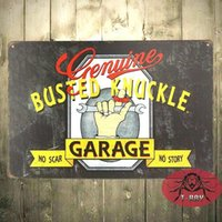 Wholesale Genuine Busted Knuckle Garage Vintage Retro Steel Wall Plaque Sign