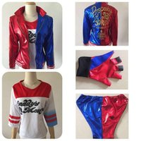 Wholesale 2016 Suicide Squad Harley Quinn Female Clown Halloween Cosplay Costume Elastic Synthetic Leather Jacket T Shirt Shorts Gloves Set Uniform