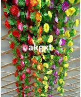 Wholesale ft Artificial Leaf Vine Ivy Garland Fake Flowers Wall Home Decor Floral E701