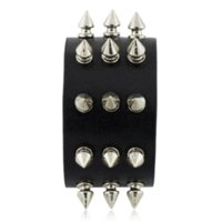 Wholesale Spiked Wristbands - Punk Gothic Rock Three Row Metal Cone Stud Spikes Rivet Leather Wristband Bangle Wide Cuff Bracelet S158