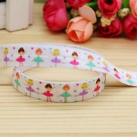 baby girl items - 5 quot mm Dancing Girls Ballet Fold Over Elastic FOE Printed Ribbon for Baby Craft Party DIY Hair Items Yards A2 F