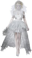 Wholesale sexy FreeShip Halloween Ghost Bride Costume Zombie white Fancy Dress Hens Party Dress one size
