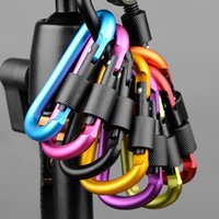assorted keychains - Assorted Colors D Shape Spring loaded Gate Aluminum locking Carabiner for Home Rv Camping Fishing Hiking Traveling and Keychain