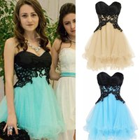 Tulle bandage corset - 2016 Cute Short Petite Homecoming Dresses Sweetheart Empire Appliques Satin Tulle Mini Length Corset Backless Party Dresses Real Image