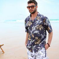 aloha beach - Men Shirts Beach Border Hawaiian Shirt Brand Clothing Aloha Shirt Chemise Homme Summer Style Large Size Mens Floral Dress Shirts