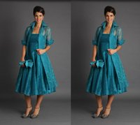Wholesale Plus Size Short Mother of The Bride Jacket Dresses With Long Sleeves Tea Length Groom Blue Green Suits Evening Gowns Cheap Organza