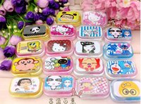 Wholesale Special recommendation with a mirror a lovely cartoon variety of contact lens box eye care box contact lens case