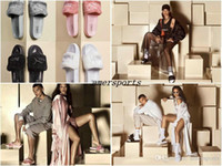 Wholesale RIHANNA LEADCAT FENTY Slippers Flip Flops Rihanna Leadcat Fenty Slide Faux Fur Slide Sandal Fashions Women Fenty Slipper Black Slides Sandal