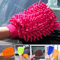 Wholesale 2016 Car Wash Mitts Absorbent Chenille Car Home Kitchen Wash Cleaning Glove Hand Protection Color Random