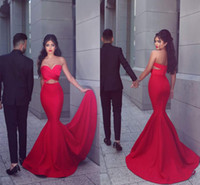 Wholesale 2016 New Sexy Red Mermaid Prom Dresses Long Sweetheart Pleats Front Open Cocktail Dresse Evening Wear Sweep Train Cutaway Sides Party Gowns