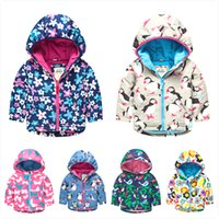 Wholesale for mini boden outerwear children s clothing wadded flower cotton padded jacket cartoon owl print hooded girls winter