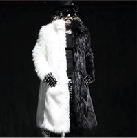 Wholesale Men long faux fur coats Splice winter Fox fur Fashion thickening lapel Multi size jackets high end coats