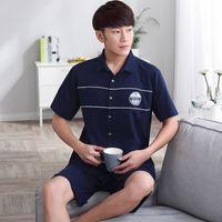 Wholesale Brand Men Pajamas Sets Summer Pajamas Cotton Letter turndown collar Short Sleeve Men Pajama Shorts New Pyjama Femme