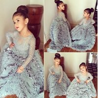 Wholesale 2016 Newest Gray Flower Girl Dress Long Sleeves Tiered Sheer Neck Floor Length Girls Dresses Princess Kids Pageant Dresses Wedding Cheap
