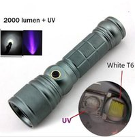 Wholesale UV LED Flashlight CREE XM L T6 tactical led flashlight lumens Rotate the zoom uv led flashlight rechargeable