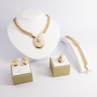 african costumes women - New Arrival Fashion Gold Plated Beads Collar Necklace Earrings Bracelet Fine Rings Sets Party Costume For Women